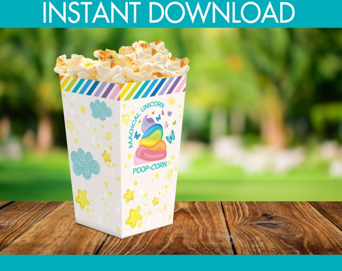 Unicorn Favor Box - Unicorn Party Box, Unicorn Birthday, Unicorn Party Decoration | INSTANT Download PDF - Printable