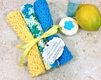 Blue Yellow Baby Cotton Crochet Washcloth Set Handmade Baby Shower Gifts Knit Wash Cloths Baby Bath Set of Three Washcloths Gifts Under 15