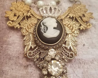 Vintage  assemblage jewelry/ assemblage necklace/assemblage jewelry/ vintage cameo necklace/Fortheloveofjunkco