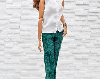 ELENPRIV white satin sleeveless blouse for Fashion royalty FR16, ITBE and similar body size dolls