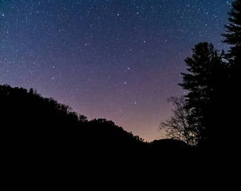 Starry Sky Over Lake Digital Print 11 x 17