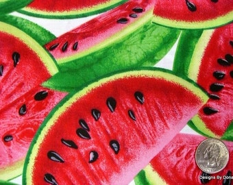 One Yard Cut Quilt Fabric, Red Ripe Juicy Watermelon Slices on White, All Over Pattern, Timeless Treasures, Sewing-Quilting-Craft Supplies