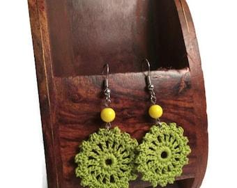 Beach Crochet Earrings, Green Earrings, Blue Earrings, Round Crochet Earrings