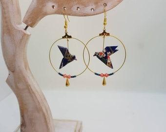 Golden origami bird earrings