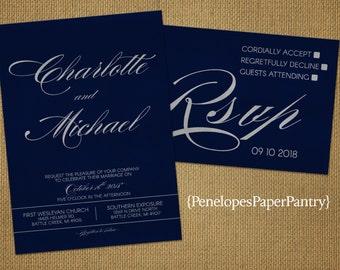 Elegant Navy and Silver Wedding Invitations,Navy Blue,Silver,Cursive Names,Shimmery,Personalize,Printed Invitations,Invitation Sets,Envelope