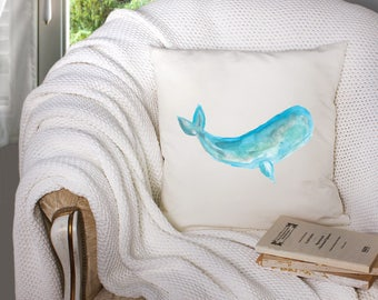 whale decor - whale throw pillow - nautical throw pillow - nautical decor  - decorative throw pillow . throw pillow with words -