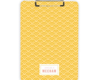 Yellow Personalized Clipboard with Custom Name Gift Home Office Organization Teacher Appreciation Gift Scallop Teacher Name Classroom Decor