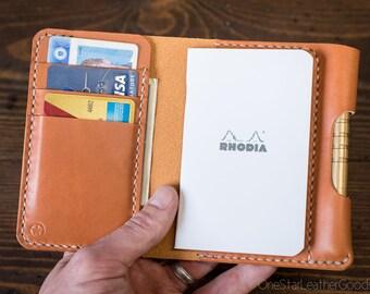 "Notebook/wallet/pen, ""Park Sloper Medium"" - tan bridle leather"