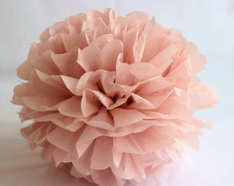 1 M (9'') size Tissue Paper Flower - Vintage rose - Blush Party decoration - Paper Pom Poms - Wedding set - Birthday decorations