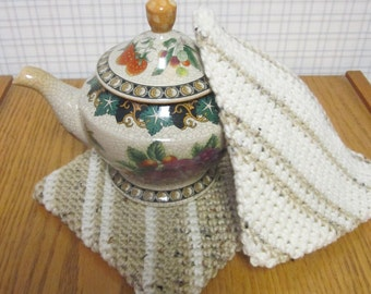 Crochet Potholder Cafe Latte and Cream Verigated - Set of 2 Potholders/Trivet