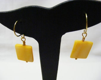 Yellow Square Shell Earrings