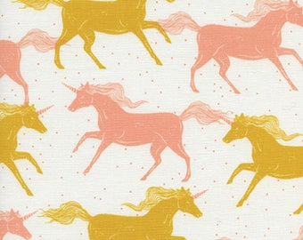 Cotton + Steel - Magic Forest Collection - Unicorns in Yellow