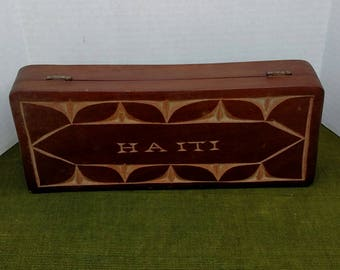 Vintage Wooden Box With Lid From Haiti