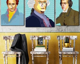 Lessing FRAMED ART, Literature, iconArt, Personalized Gift, Name, City, Gift For Women, For Men, For Grandma, For Grandpa,