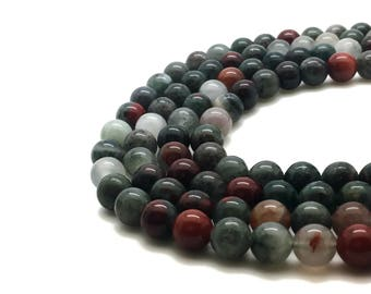 6mm Natural African Bloodstone Beads
