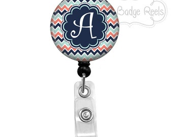 Retractable Badge Holder - Navy and Coral Chevron Badge Reel - Nurse Badge Holder - Retractable Badge Reel - Initial Badge Reel - 0119
