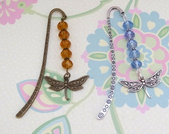Bronze or Silver Dragonfly Bookmark/Bookhook with Crystal Beads - Ready to Ship