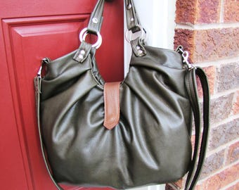 Olive green leather bag convertible satchel with pleats and tan accent 4 way bag shoulder tote cross body and backpack