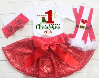 My First Christmas Outfit Girl, Christmas Tutu Outfit, Infant Christmas Outfit, My 1st Christmas Outfit,Dress, First Christmas Outfit
