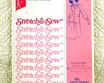 Blouse, Stretch and Sew 770 Pattern, Ann Person, Stretch Knit Shirt, Front Button, 1974 Uncut, Size 2 4 6 8 10 12 14 16 18