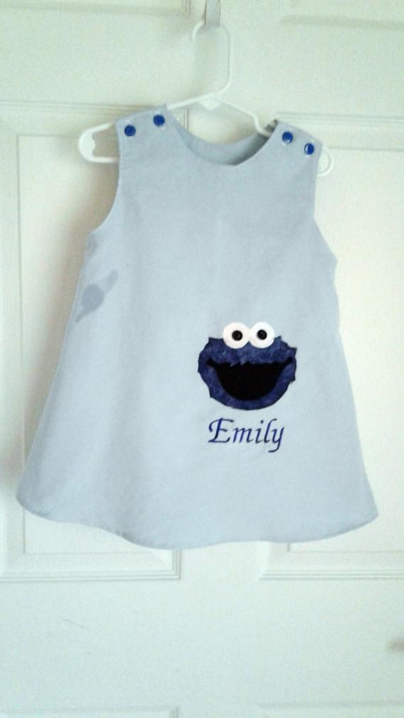 Cookie Monster Dress, Handmade dress, Applique Jumper, Toddler Dress, Baby Dress, Birthday Dress, Personalized Dress, Blue Jumper