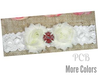 Firefighter Wedding Garter, Fireman Garter, Fire Dept. Garter, Red and Ivory One Single Flower Garter, Lace Bridal Garter and Toss Garter