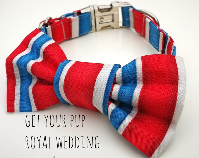 Featured listing image: Royal Wedding Red, White and Blue Stripe Dog Collar,  Dog Bowtie or Dog Bowtie Collar Set