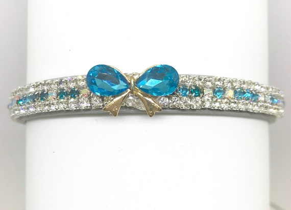 Bling Cutie Pie Pets Collars™ ~Mon Petite Bow in Aqua~ Crystal Diamante Rhinestone Vegan Leather Dog or Cat Safety Collar USA