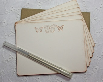 Vintage Butterfly Stationary Set of 6 cards and envelopes