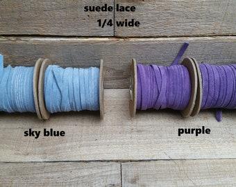 Genuine Leather / Suede Lace, sky blueor purple 25 ft Bracelet Cord/Necklace f-11