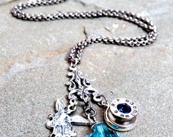 Bullet Necklace 9MM St. Michael with Swarovski Aqua Crystal Cross