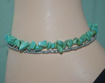Ankle Bracelet Turquoise Chips, 2 Strand Turquoise Look Anklet,  Turtle & Turquoise Anklet, Beachy Turquoise Anklet,  Turtle Anklet,  Anklet