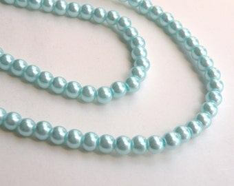 Turquoise blue glass pearl beads round 6mm full strand 7747GB