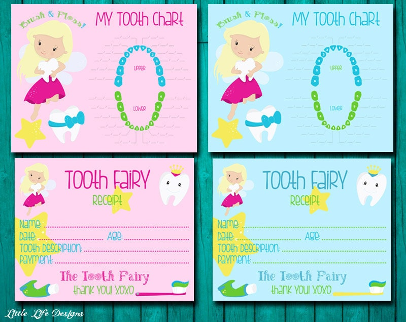 Tooth fairy receipt tooth chart boys and girls tooth fairy zoom yelopaper Choice Image