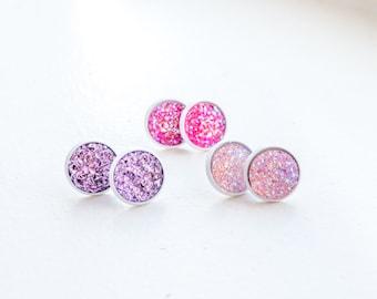 Druzy Earrings Studs Druzy Stud Earrings Pink Druzy Post Earrings Druzy Jewelry Small Earring Studs Everyday Earrings Minimal Earrings