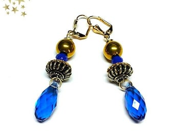 """Long dangle earrings pearls and Crystal """"Milky"""" blue indigo gold drops"""