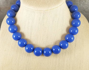 Statement Necklace, Blue, Blue Bead Necklace, Big Necklace, Blue Necklace, Chunky Necklace, Big Bead Necklace, Beaded, Round Bead Necklace