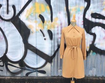 Vintage 1970s Caramel Tan Dress (Size Small)