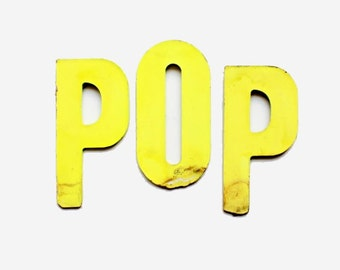 Vintage Signage, Neon Letters, POP, Hot Pink and Highlighter Yellow, Father's Day, Dad