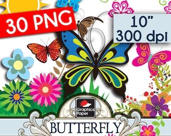 30 Butterfly Clipart Pack - Butterfly Clip Art - Butterflies Clipart - Digital Butterfly Balloon Clip Art - Butterfly Wedding Clip Art - AN1