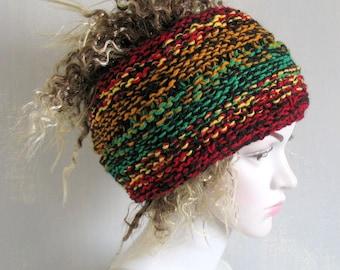 Men Headband Wide Dread wrap Hippie Dreadband Hair Wrap Goth Headband  Tube Hat Dreads Band  Knitted accessory
