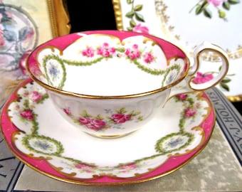 Aynsley Tea Cup and Saucer Pink & Pink Rose Swag Pattern Teacup Low Doris