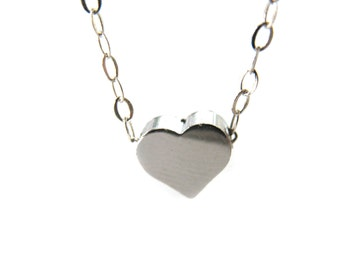 Silver Heart Necklace Sterling Silver Necklace Tiny Heart Necklace Love Necklace Simple Silver Necklace Love Gift Glossy Heart Necklace