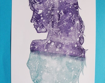 Space Girl A4 Risograph Print