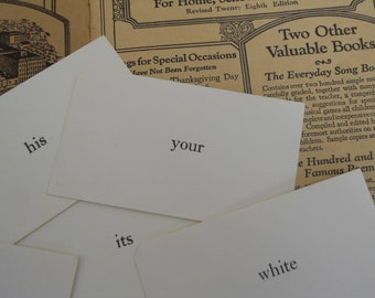 20 Vintage Word Flash Cards Classic Basic Sight Words Vocabulary Flash Cards
