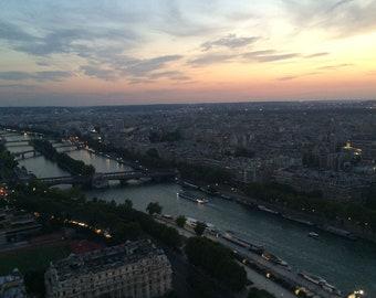 Paris Sunset Instant Digital Download of My Photo of Paris Landscape River Bridges Ferries Sunset  Eiffel Tower View HomeDecor P Gullett