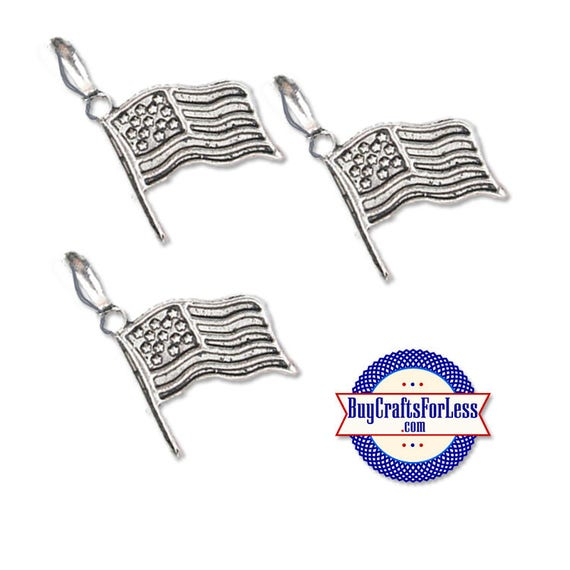 USA FLAG Charm, Patriotic Charms, Silver Alloy, 6 pcs  +Discounts & FREE Shipping*