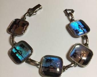 "Vintage Hoffman Silver Tone Butterfly Wing Bracelet Tropical Design 7 1/4"" Long"