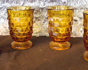 Vintage INDIANA Glass American WHITEHALL AMBER Gold American -  5 Ounce Juice Glasses - Set of 4