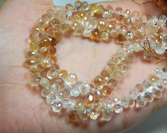 Imperial Topaz Faceted Teardrop Beads /Golden Topaz Beads 100% Natural Gemstone Size 10x9 To 8x6 mm Approx Code - 0500